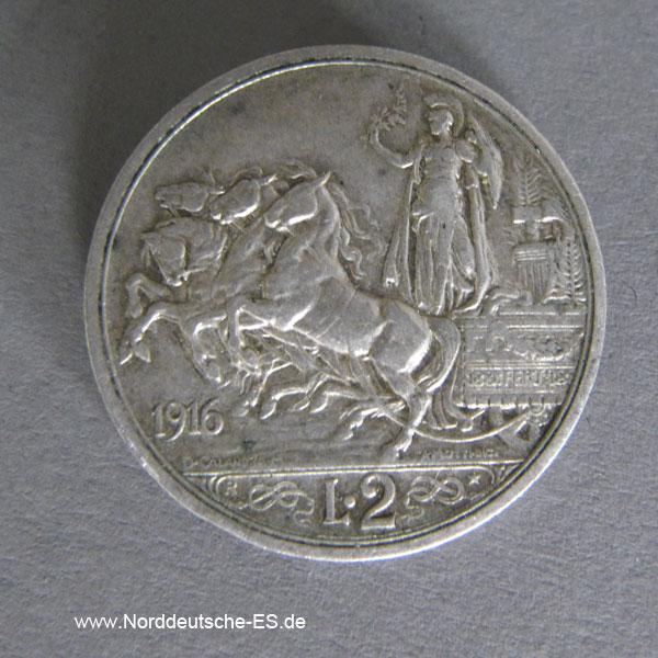 Italien 2 Lire Silber Vittorio Emanuele III 1914-1917