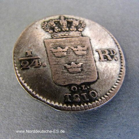 Schweden 1_24 Riksdaler Karl XIII Silbermünze 1810-1816