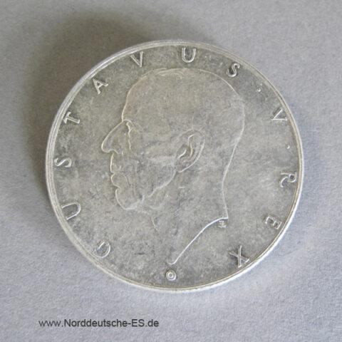 Schweden 2 Kronen Silber 1938 Gustav V 300. Jahrestag Delaware