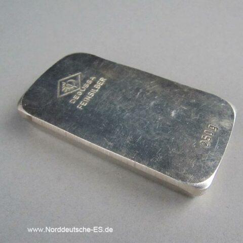 Silberbarren 250g Degussa Stanzbarren mit Patina Sargform