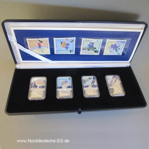 Silberbarren 4 x 1 oz Stiftung Deutsche Sporthilfe 30 Jahre