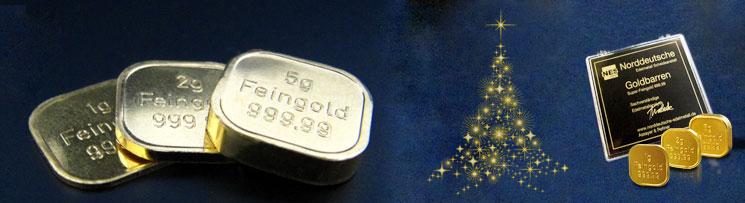 Edelmetall Shop - Sonderedition 3 Weihnachts-Goldbarren 8g Superfeingold