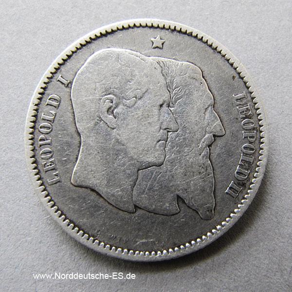 Belgien 1 Franc 1880 Silbermünze 50 Jahre Unabhängigkeit