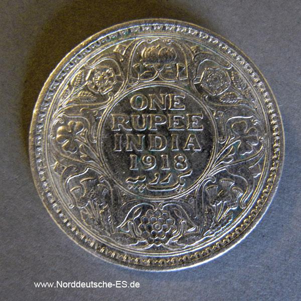 Britisch-Indien 1 Rupie 1918 Silber Georg V one Rupee