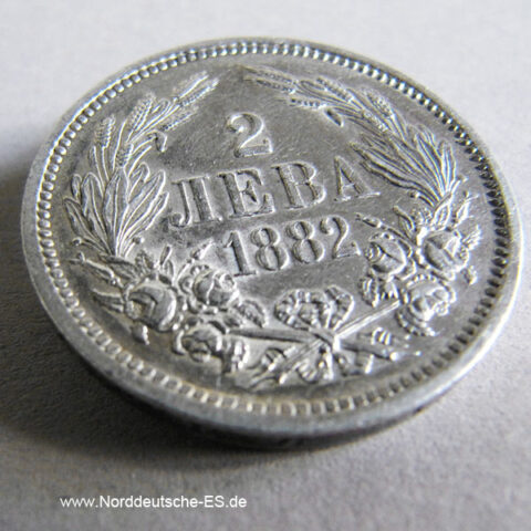 Bulgarien 2 Lewa 1882 Silber Leva Alexander I