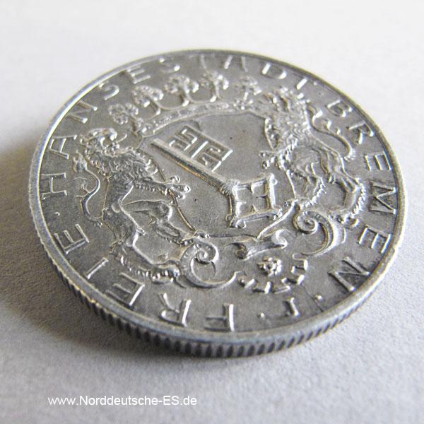 Deutsches Reich 2 Mark Silbermünze 1904 Freie Hansestadt Bremen