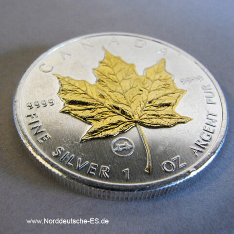 Kanada 5 Dollars 2009 Maple Leaf Vergoldet 1 oz silber