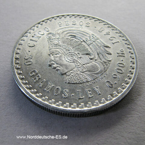 Mexiko 5 Pesos Aztekenkaiser Cuauthemoc Silber 1948