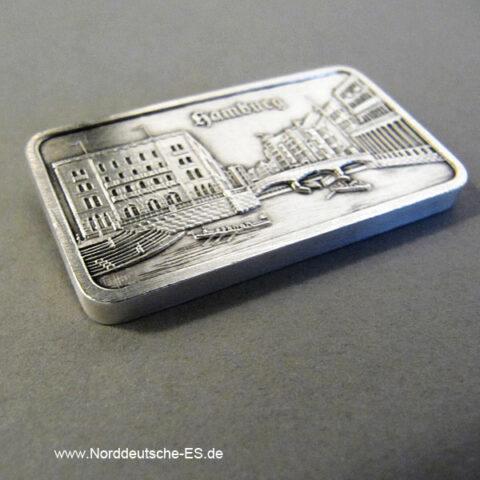 Motivbarren Heraeus 1 oz Silber Rathausschleuse Hamburg