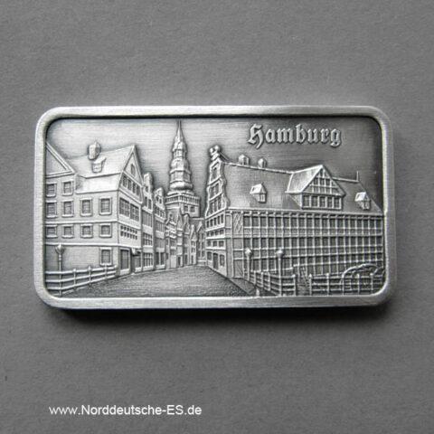 Silberbarren 1 Unze Alt Hamburg Mühlenbrücke Nikolaikirche Heraeus