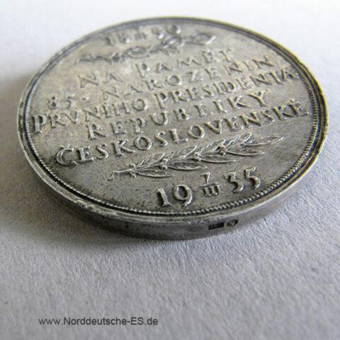 Tschechoslowakei Silber 1850-1935 Masaryk Tomas G 85 Geburtstag