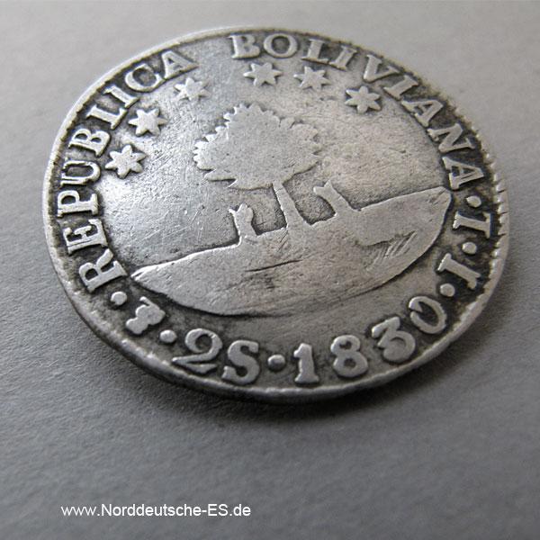 Bolivien 2 Soles 1830 Silber Simon Bolivar Potosi