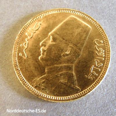 Ägypten 20 Piaster Fuad I Goldmünze 1929-1930