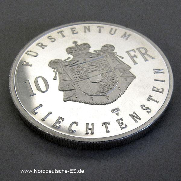 Liechtenstein Silbermünze Hans Adam II 10 Franken 1990