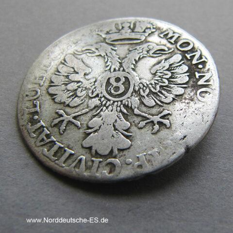 Lübeck 8 Schilling 1752 Courant Geldt Silbermünze