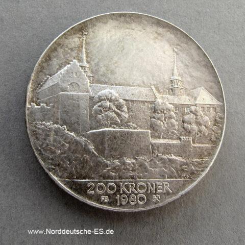 Norwegen 200 Kronen 1980 Umlaufgedenkmünze Silber