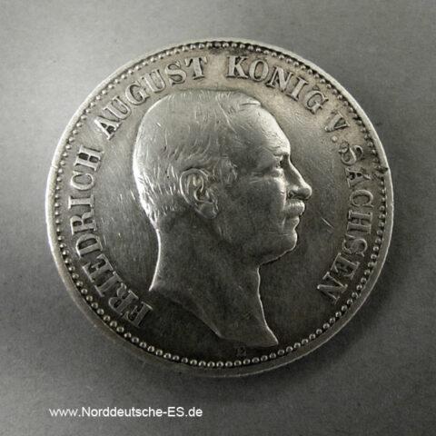 Deutsches Reich 2 Mark Sachsen König Friedrich August III 1905-1914