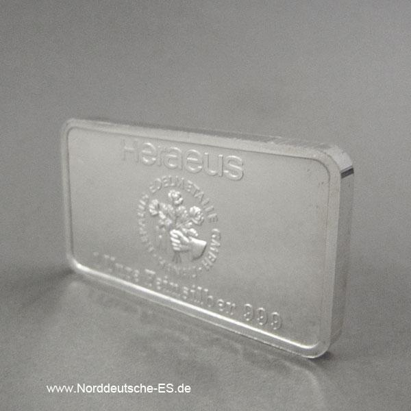 Silberbarren 1 oz Feinsilber 999 Heraeus