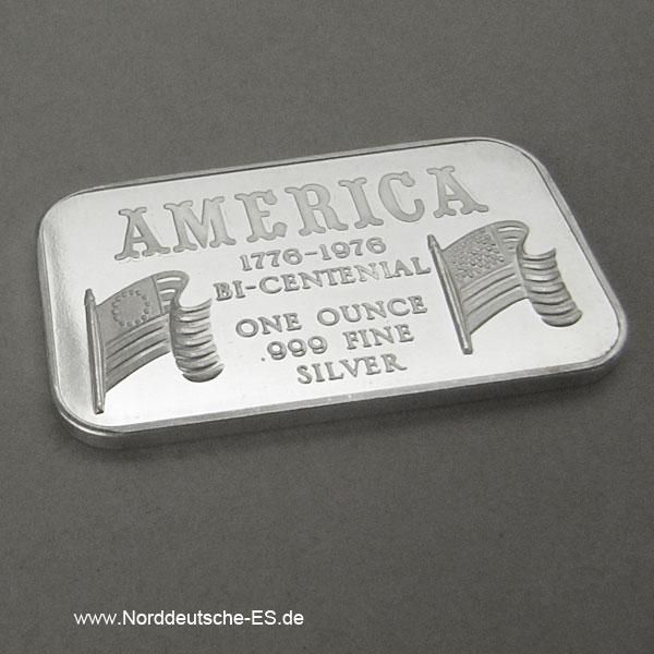 USA Silberbarren 1 oz 1776-1976 Bi-centenial 999 Fine Silver