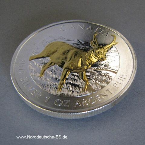 Kanada 5 Dollar 1 oz Silber Vergoldet Antilope 2013