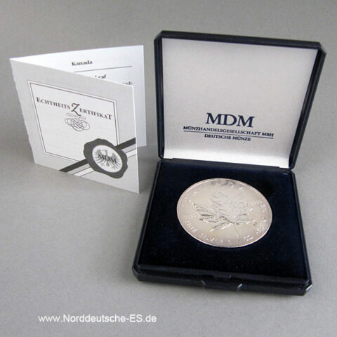 Kanada Maple Leaf 1 Unze Silbermünze Zertifikat Original Etui