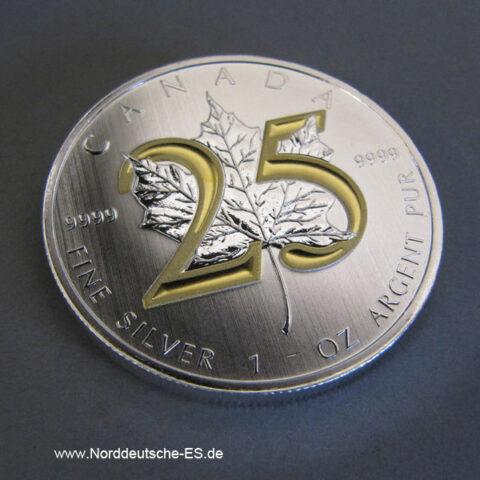 Kanada Maple Leaf 25 Jahre 1 OZ Silbermünze mit 24 Karat teilvergoldet