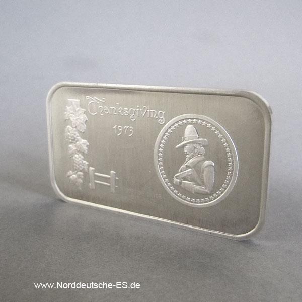 USA Silberbarren 1 oz Thanksgiving 1973 Madison Mint