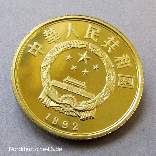 China 100 Yuan Takin 1992 Goldmünze