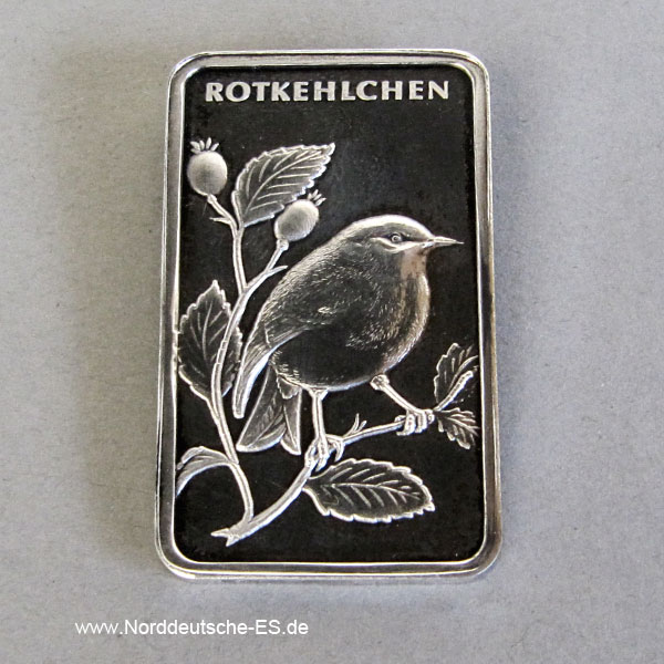 Motivbarren Heraeus 1_2 Unze Feinsilber 999 Rotkehlchen