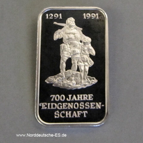 Silberbarren 1 Unze Argor Heraeus 700 Jahre Eidgenossenschaft