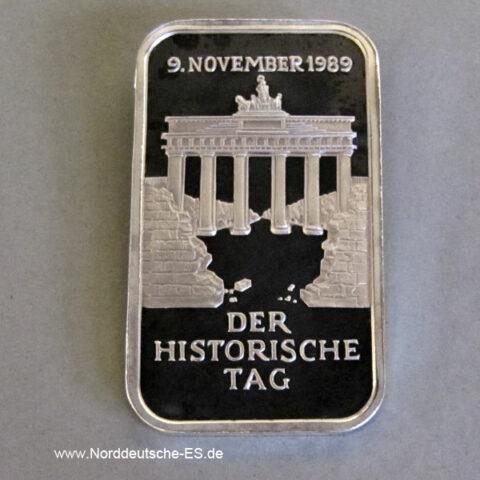 Silberbarren 1 oz Argor Heraeus Mauerfall 9 Nov 1989
