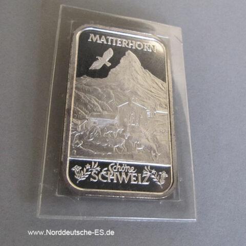 Silberbarren 1 oz Argor Heraeus Schöne Schweiz Matterhorn