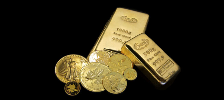 Goldbarren-Goldmuenzen