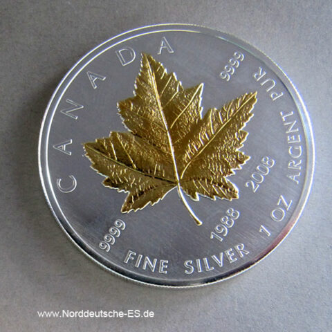 Kanada Maple Leaf 1 oz Silber vergoldet Jubiläum 1988-2008