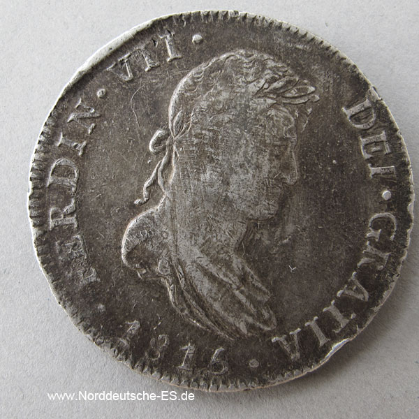 Mexiko 8 Reales Silbermünze Ferdinand VII 1815