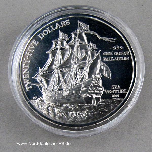 Bermuda 1 oz Palladium 1987 Schiff Sea Venture