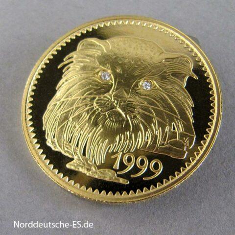 Mongolei 1000 Tugrik 583er Gold Katze Diamant Augen 1999