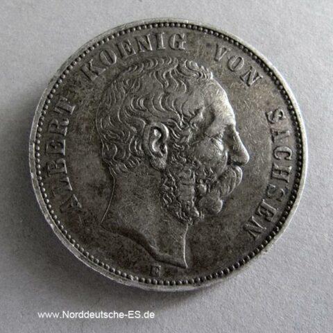 Deutsches Reich 5 Mark Silber Albert Sachsen 1889