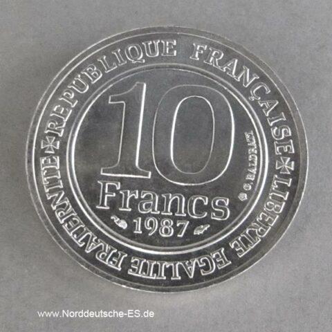 Frankreich 10 Francs Silber 1987 Hugo Capet