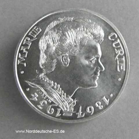 Frankreich 100 Francs Silber 1984 Marie Curie