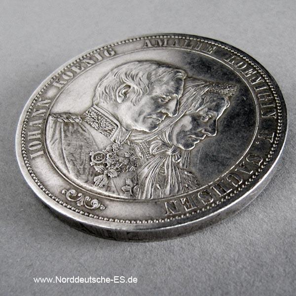 Sachsen Vereinsdoppeltaler Johann Amalie 1822-1872
