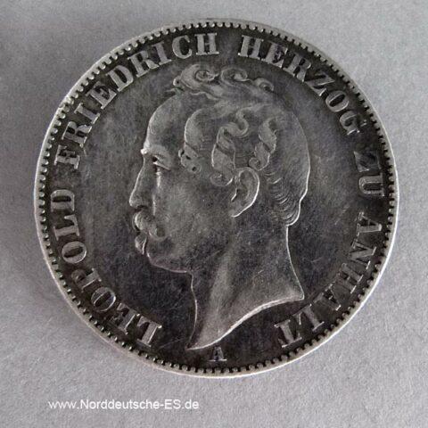 Vereinsthaler Silbermünze 1858 Anhalt Leopold Friedrich