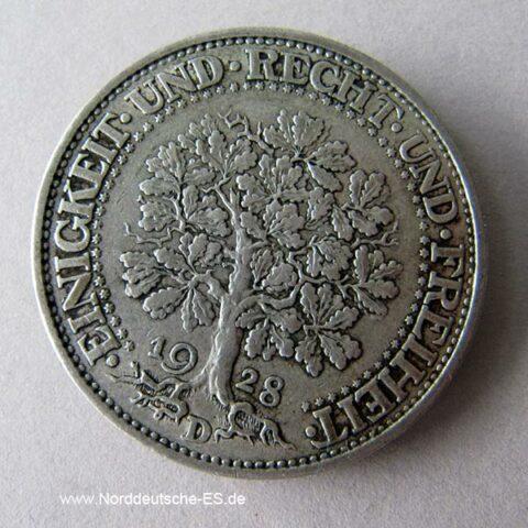 Fünf Reichsmark Silbermünze Weimarar Republik Eichbaum