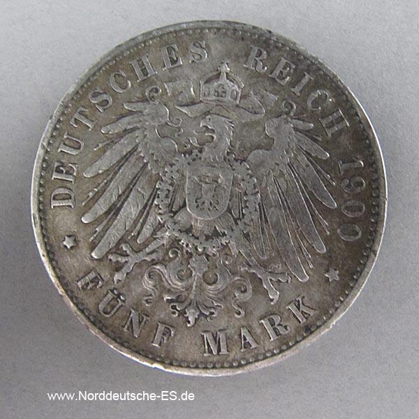 5 Mark Silber Albert Sachsen 1891-1902