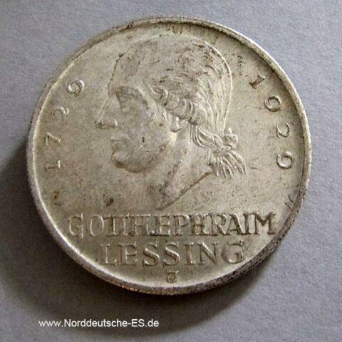 5 Reichsmark 1929 Lessing J