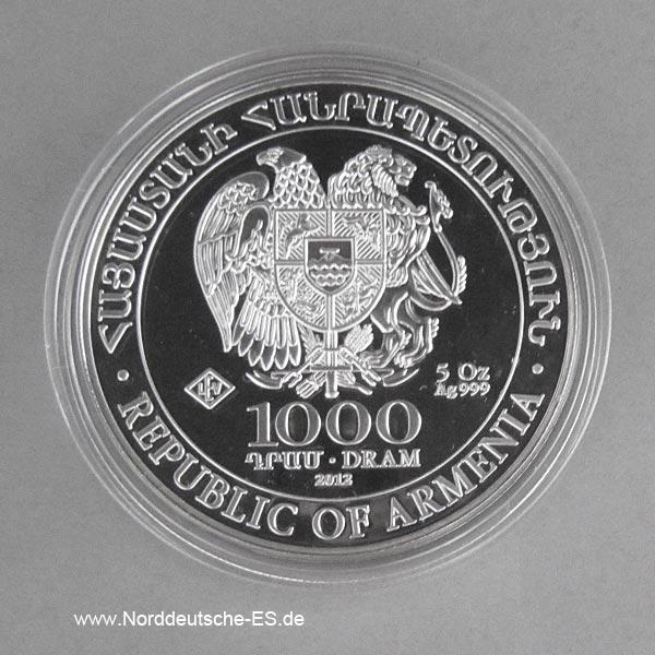 Armenien 5 Unzen Silber Arche Noah