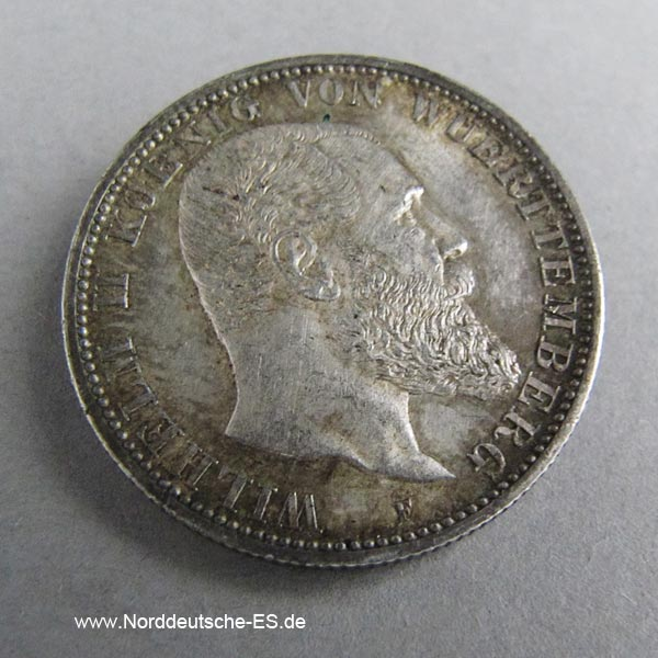 Deutsches Reich 2 Mark Wilhelm II Württemberg 1892-1914