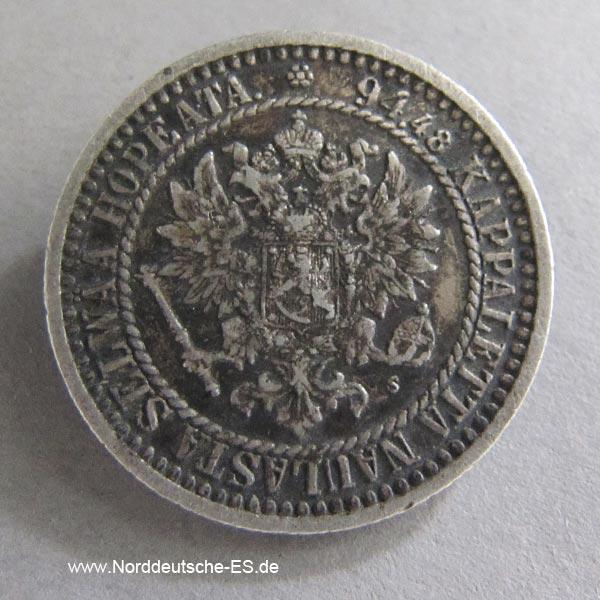 Finnland 1 Markka Silbermünze 1855-1881