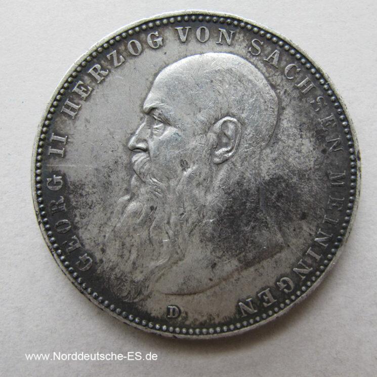 5 Mark Silber Georg II Sachsen Meiningen 1908
