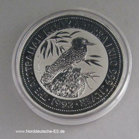 Australien 1 Kilo Feinsilber Kookaburra 1992